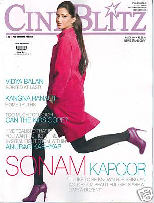 Sonam Kapoor Cineblitz March 09 covergirl