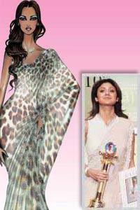 Shilpa Shetty Roberto Cavalli leopard print sari