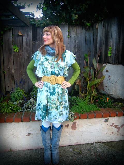 Wearing a green flower dress in my garden