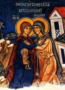 Imagen de un fresco del siglo 14 en el que aparecen representados Jesús y Juan en el seno de sus madres