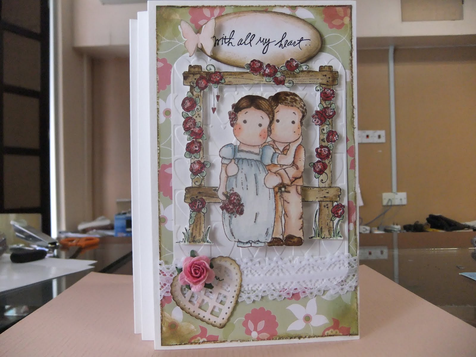 Handmade cards by laura with double do cut impress kutz