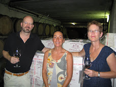Bill Tieleman, Laurence Feraud of Domaine du Pegau, and Shirley Ross, Chateauneuf-du-Pape, France
