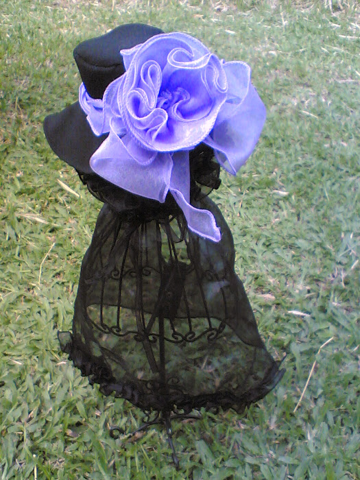 Black Silk Dress with Light Violet Flower Hat
