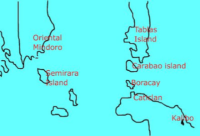 Map of Boracay and Carabao Island