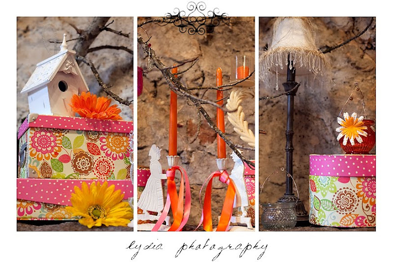 Pink and orange shabby chic table settings and decor for summer at the Nevada County Wedding Expo
