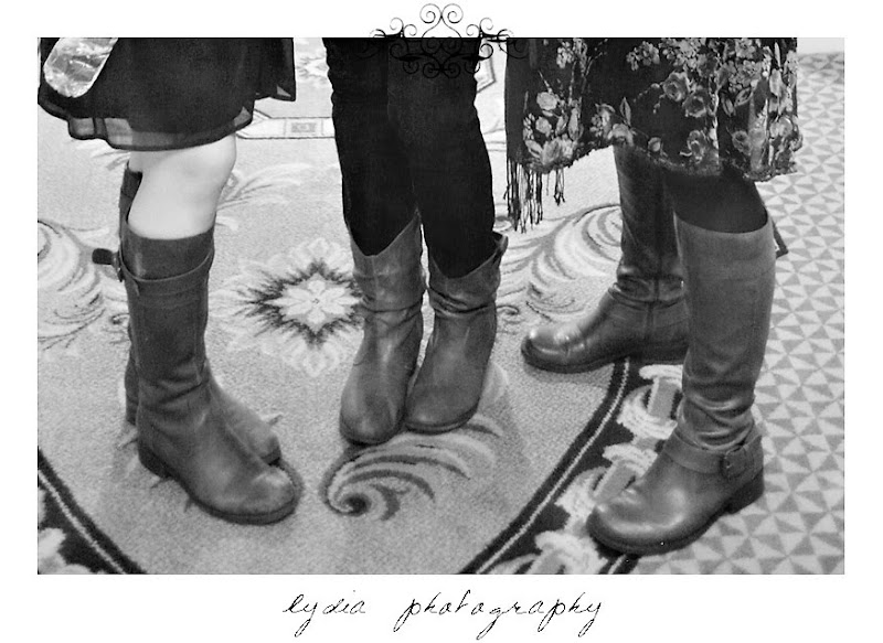Jamie Delane's, Kristen Leigh's, and Lydia's brown riding boots at WPPI in Las Vegas, Nevada