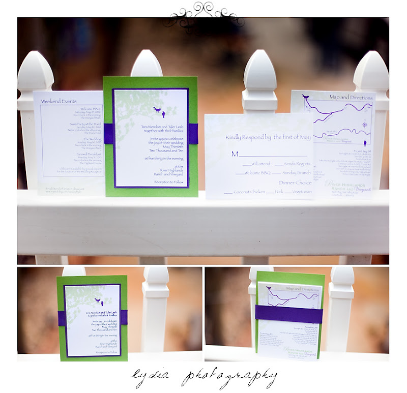 Vibrant green and purple invitation set held together with a grosgrain purple ribbon