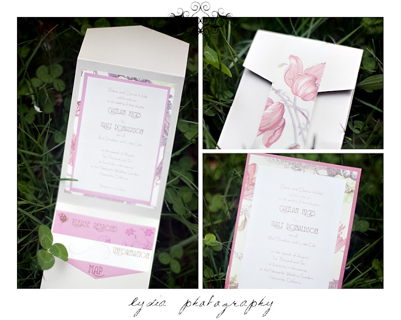 Pink and khaki floral folded invitation set