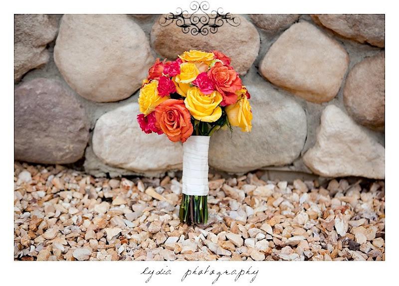 Bride's bouquet at modern, citrus, backyard wedding at Pine Ranch in California