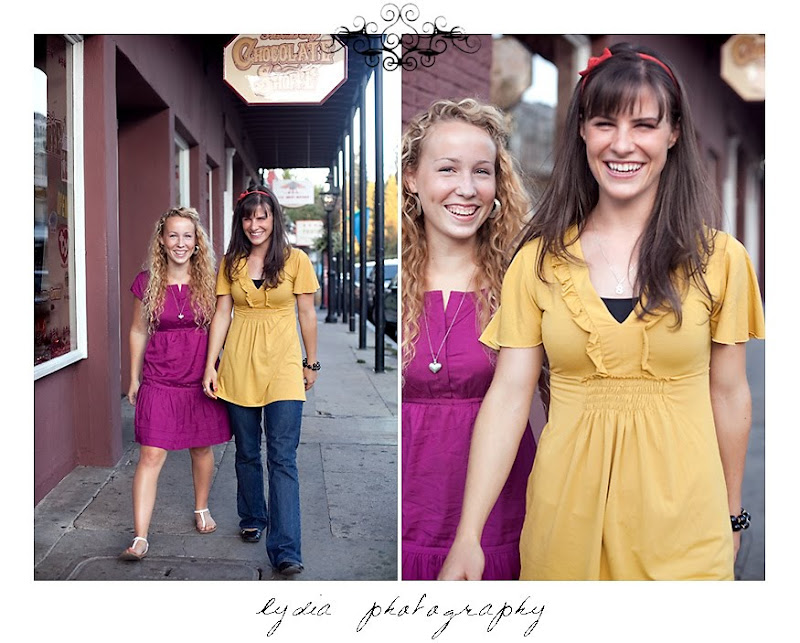 Jessica and Sarah walking for their pictures in Nevada City California