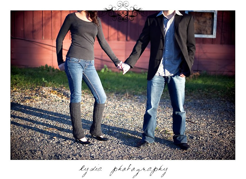 Bride's and groom's feet posture at lifestyle old town engagement portraits in Cottonwood, California