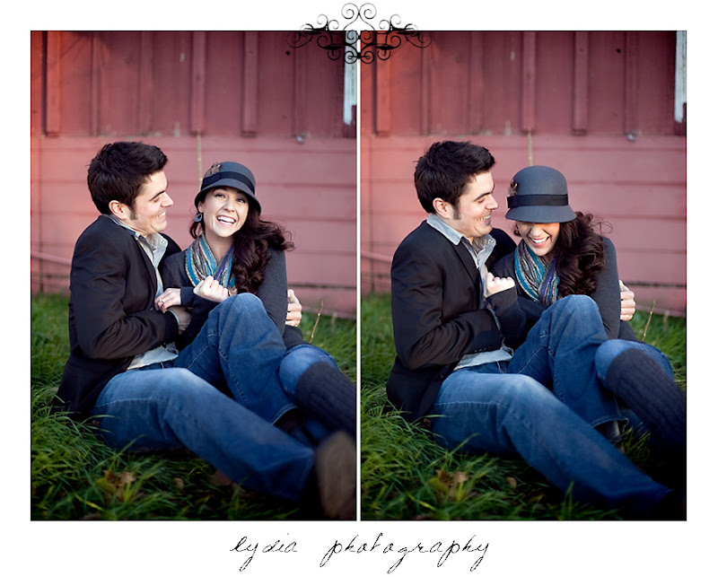 Groom tickling his bride at lifestyle old town engagement portraits in Cottonwood, California