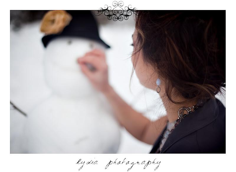 Dev building a snowman