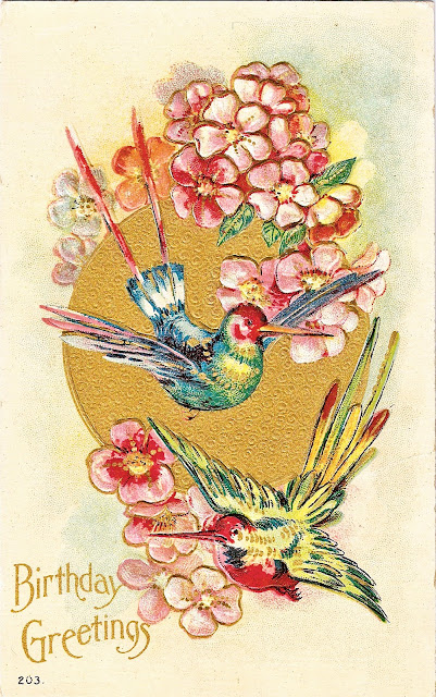 Post card with a pair of brilliant and exotic birds to celebrate