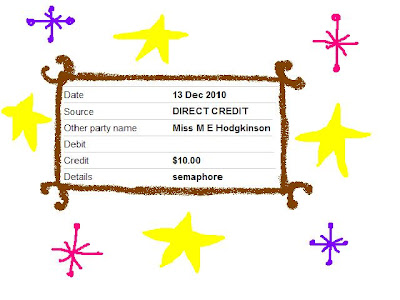 A screen shot of a bank statement which shows ten dollars credited to a bank account by Semaphore magazine