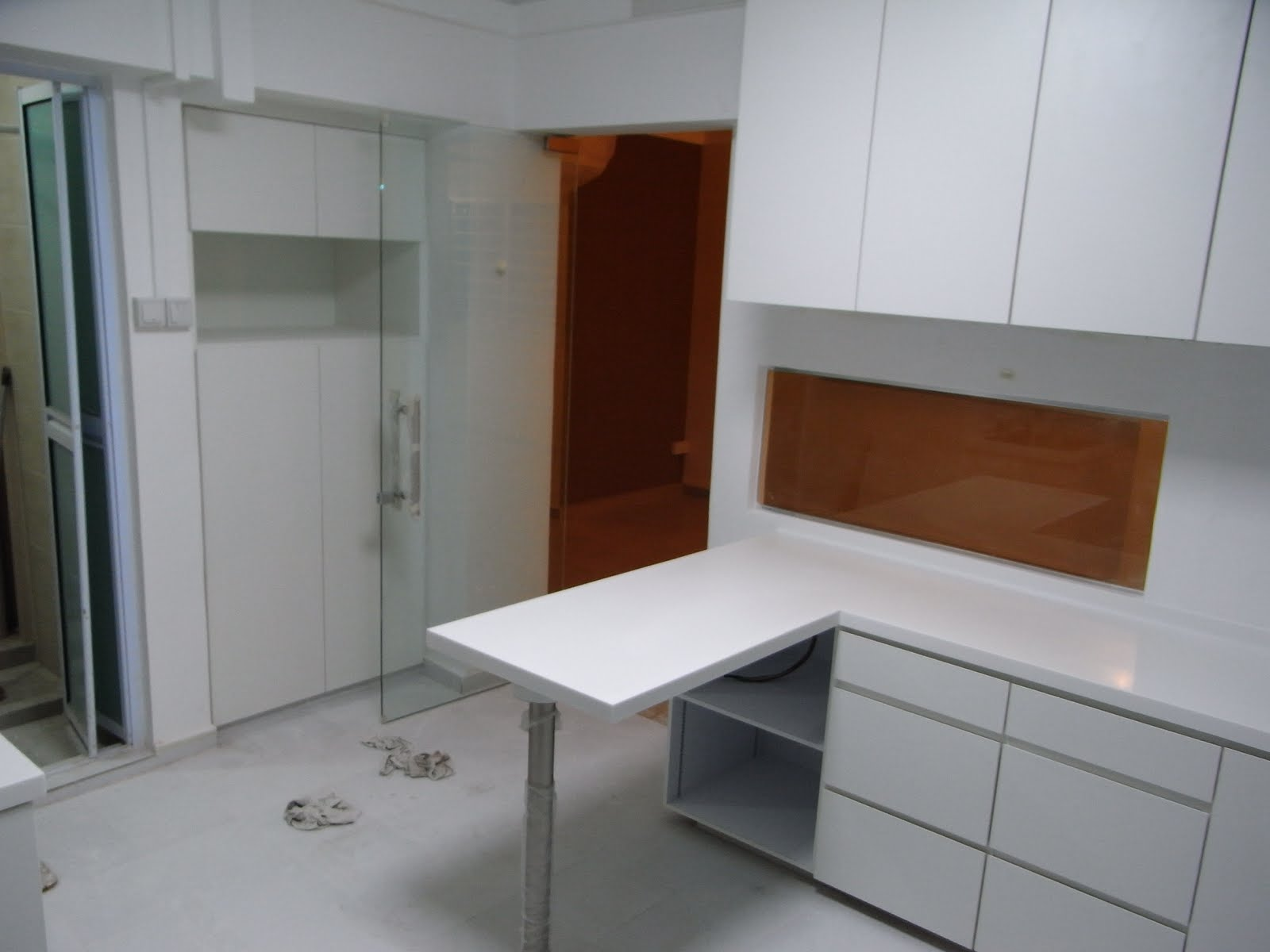 Our hdb flat renovation in 2009 making a long shaped living room feel spacious Kitchen door design hdb