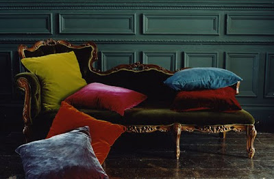 boho couch with velvet pillows