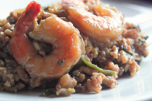 Red Wine Mushroom Risotto With Shrimp, recipe below