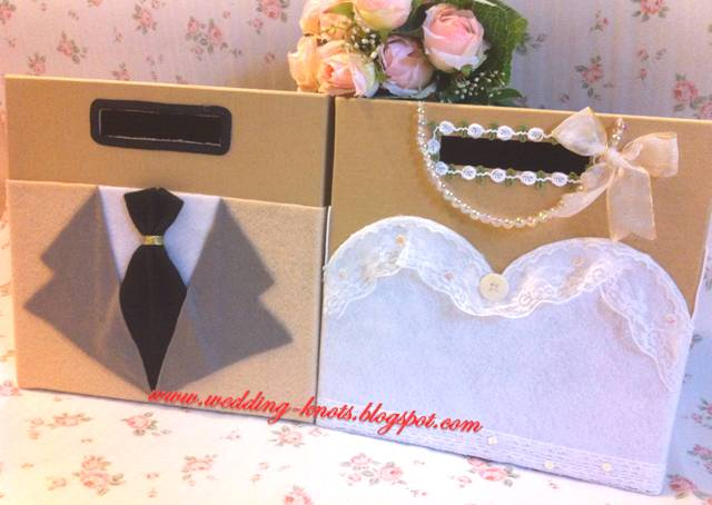 Wedding knots korean bride and groom ang pow box beige for Ang pao decoration