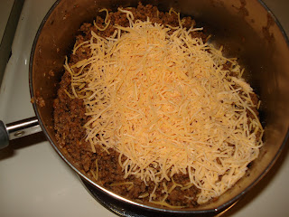 Add cheese to beef