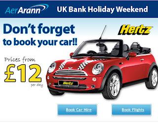 Promoção Aer Arann/Hertz: Locação de Veículos