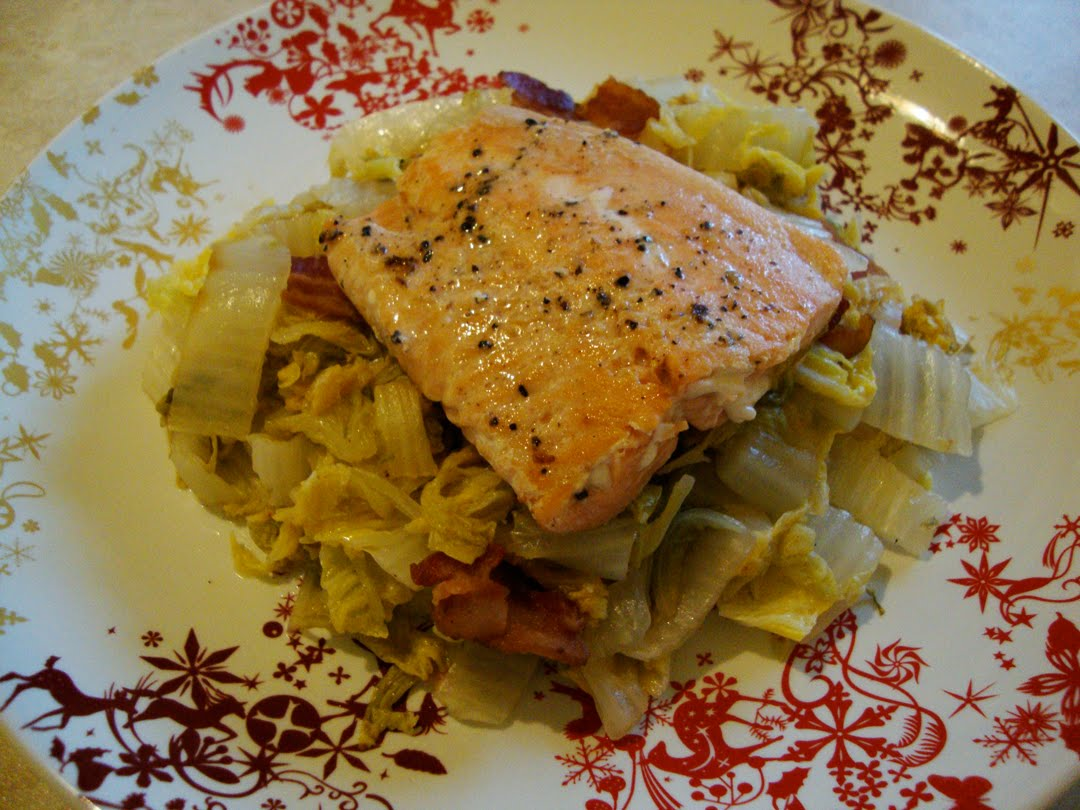my back pages: salmon with braised napa cabbage