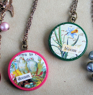 vintage style handcrafted collage pendants
