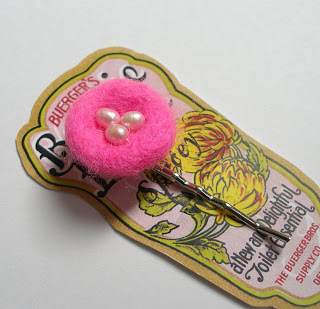 Needle Felted Pink Nest Bobby Hair Pin with Freshwater Pearl Eggs On a Reproduction Vintage Label