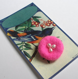 Needle Felted Pink Nest Pin with Freshwater Pearl Eggs On a Reproduction Vintage Label