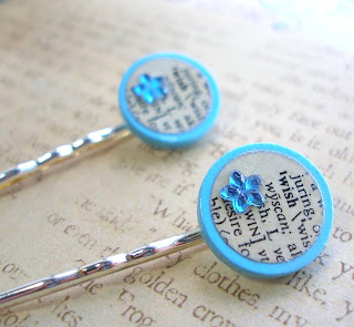 Vintage Dictionary Bobby Hair Pins - Wish
