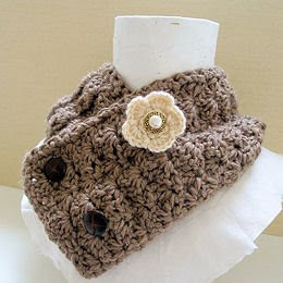 crochet flower wool blend warm mocha scarflette with anywhere buttons