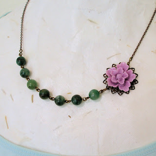 Waterlily -- vintage style flower and jade necklace