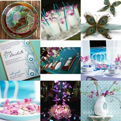 Peacock Style Board Like the blue straws and purple orchids