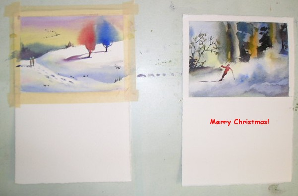 Carol jessen 39 s watercolor world hand painted christmas cards for Painted christmas cards