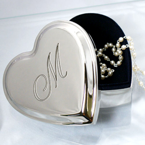 Personalized Gifts Engraved Name Silver Heart Jewelry Box