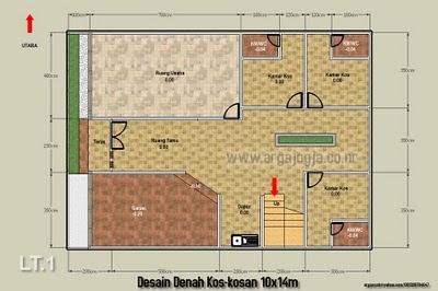 desain denah sketch kos-kosan di atas lahan 10x14m