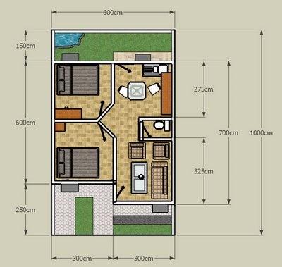 desain denah rumah diatas lahan yang kecil (luas lahan