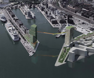 Steven Holl, Copenhagen: Two towers in Copenhagen harbour, connected by pedestrial bridge 65 meters above sea level