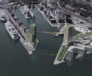Steven Holl, Copenhagen: Two towers in Copenhagen harbour, connected by pedestrial bridge 65 meters above sea level