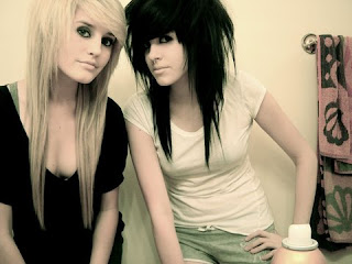 Emo  sister with different emo haircuts- blonde and dark emo hair