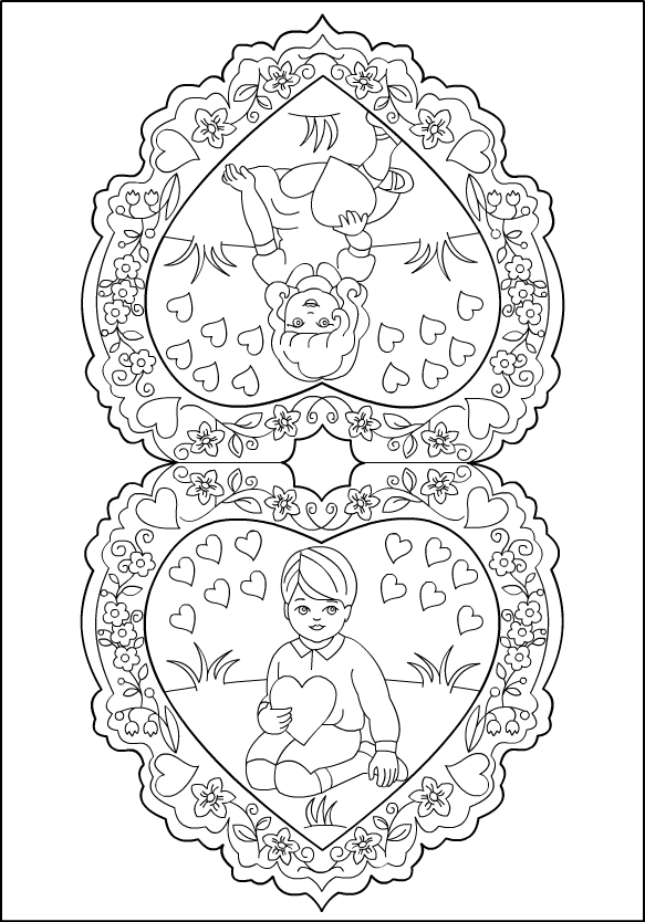 vintage valentine coloring pages - photo#1