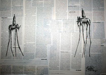 Periodico y rotring sobre papel.
