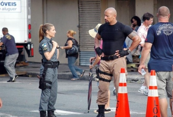 fast five elsa pataky. Dwayne Johnson On Set Of Fast