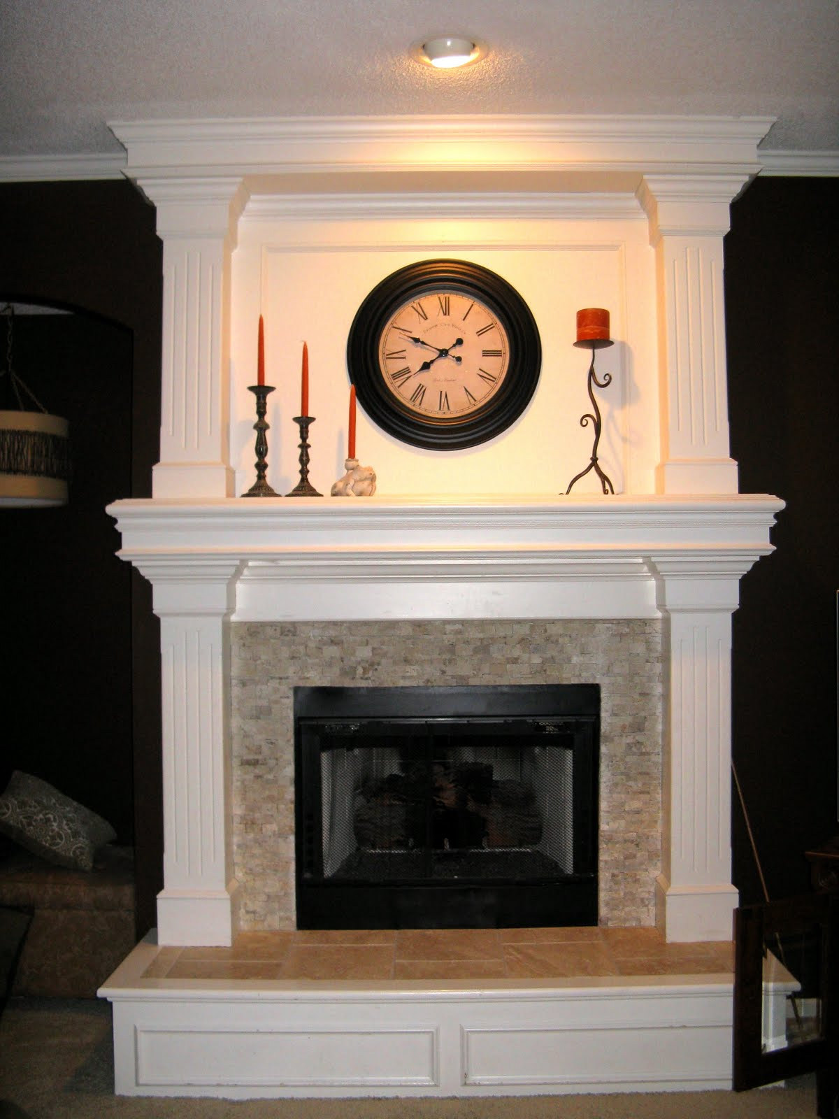 Stone Raised Hearth Fireplace with Tile 1200 x 1600