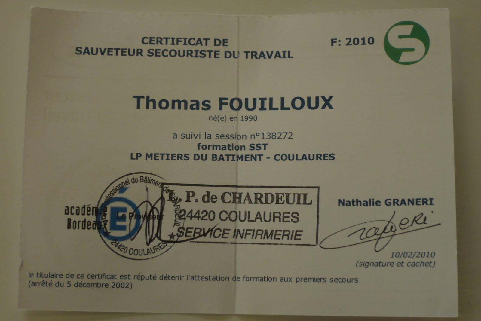 chardeuil express  les dipl u00f4m u00e9s sst 2010