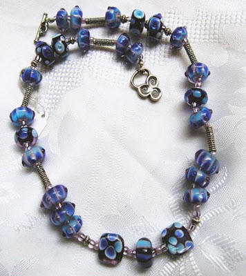 Handcrafted Lampwork Jewelry, Lampwork Glass Necklace in Blue