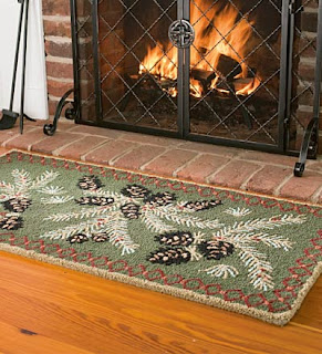 pinecone fireplace rug, green fireplace rug