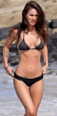 Megan Fox sexy breast arse body in black bikini in Hawaii