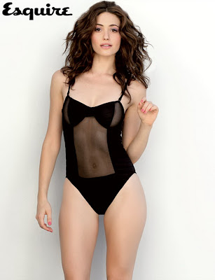 Emmy Rossum in her underwear for Esquire magazine January 2011 lingerie areola