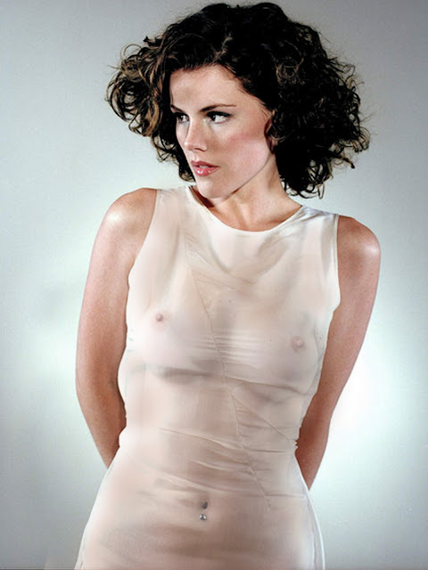 Kathleen Robertson nice breast in see through dress